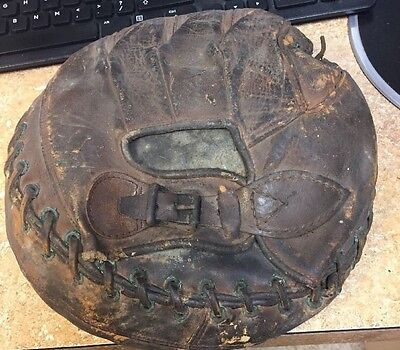 Vintage Leather Catchers Mitt with Buckle Baseball Glove Old Antique Pillow MIT