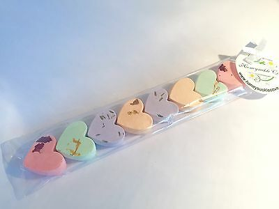 Valentines 8 x heartshaped MINI bath bombs with petals made in UK