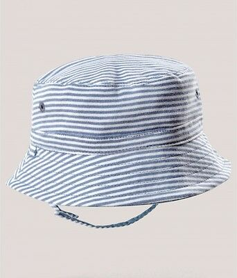 NEW Mamas and Papas Baby Boys Reversible Blue Striped Sun Hat - 18-24 Months