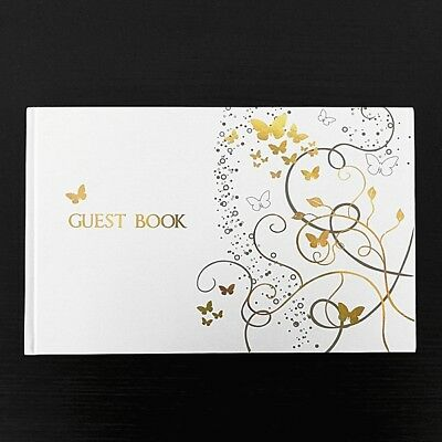Gold Butterfly Guestbook for Birthdays, Weddings and Celebrations