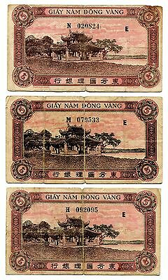 3 French Indo-China banknote 1942 - 1945, 5 Piastres , heavy fold in center note