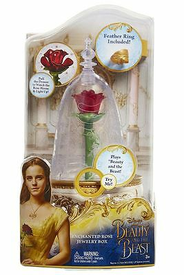 Disney Beauty and Beast Enchanted Rose Jewelry Box Plays Movie Song Feather Ring