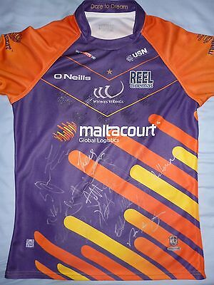 Widnes Vikings Signed Shirt x17 - 2016/17 Squad, Rugby Autograph, Craven, Mellor
