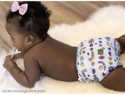 KaWaii Baby One Size Goodnight Heavy Wetter Pocket Cloth Diaper+2 Inserts