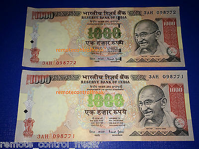 2000 Indian Rupees - 2 X 1000 RUPEE NOTES - MINT COLLECTOR COLLECTION CONDITION
