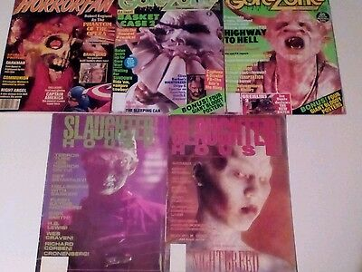 HORROR FILM MAGAZINES x 5 ISSUES LOT. HORROR FAN,GOREZONE, SLAUGHTER HOUSE.