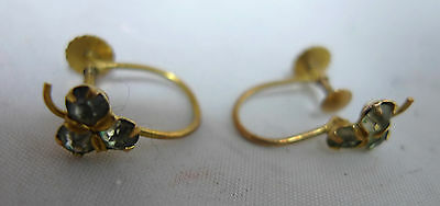 Vintage 9ct Yellow Gold Screw On Shamrock Earrings 0.8g A589916