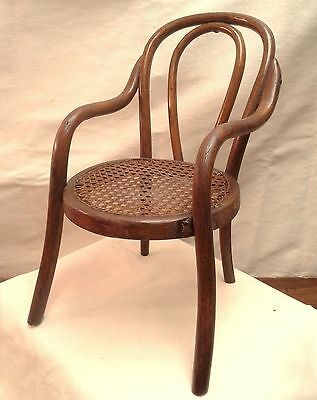 RARE SALESMAN SAMPLE ANTIQUE BENTWOOD CHAIR w CANE SEAT THONET STYLE