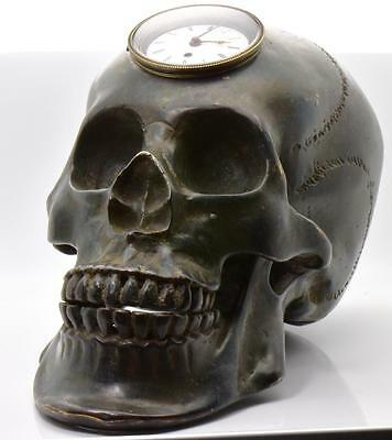 MUSEUM antique Georgian Verge Fusee REAL SIZE SKULL Memento Mori  bronze Clock
