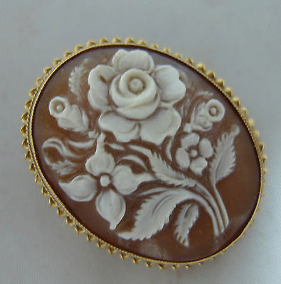 Antique 9ct Yellow Gold Carved Shell Cameo Brooch 6.3g 2.7cm x 3.3cm