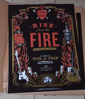 """Rare Jack Daniels Tennessee Fire Rise from the Fire Poster 24"""" x 18"""" Firefighter"""