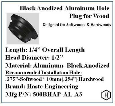 """Black Anodized Aluminum Hole Plug for 3/8"""" Diameter Holes in Wood (25 Pieces)"""