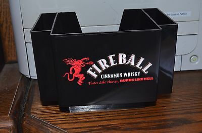 Fireball Whiskey NAPKIN & STRAW HOLDER Caddy Bar Man Woman Cave