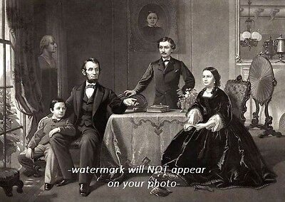 1866 Abraham Lincoln Family PHOTO Portrait Republican President, Mary Todd, Tad