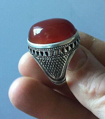 Big Islamic Persian NISHABOUR NATURAL Aqueeq عقيق Agate STONE Solid Silver Ring