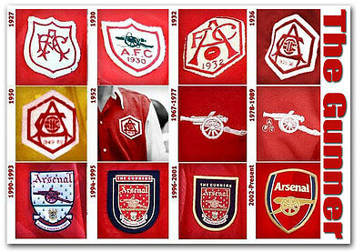 "The Evolution Of The Arsenal Badges Fridge Magnet Size 3.5""x 2.5"""
