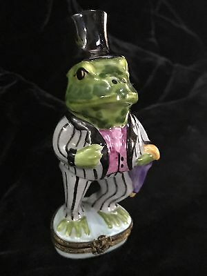 Mr. FROG Peint Main PEINT MAIN LIMOGES BOX Gentleman Trinket Box VINTAGE