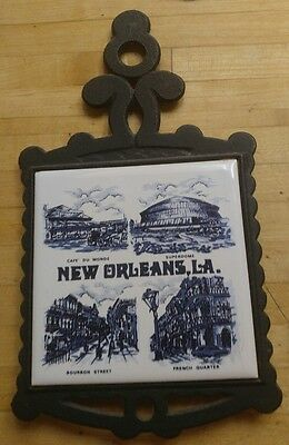 Old Vintage Collectable Delftware New Orleans trivet  blue and white tile