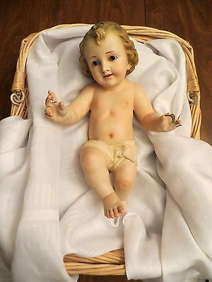 Large Antique Catholic Infant Baby Jesus with Glass Brown Eyes Spain & Basket