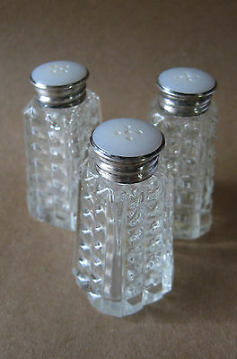 TRIO CZECHOSLOVAKIAN Pressed Glass Salt Pepper Shakers 925 Sterling Silver Tops