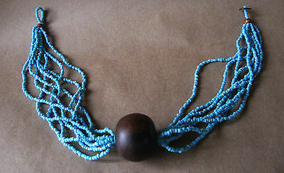 TRIBAL Statement Necklace Large Ironwood Bead with Multi Strand Turquoise Seeds
