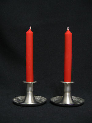 """SET OF 2 Vintage 1 1/2"""" Norway Pewter Candle Holders Pebble Texture rims LOT N"""