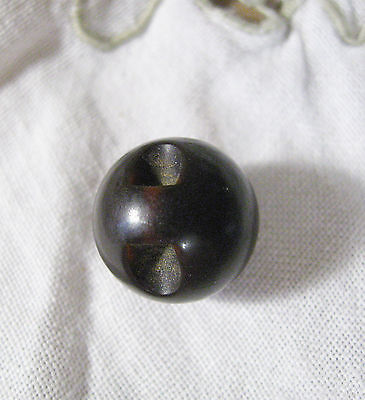 """L15  Antique Vegetable Ivory BROWN BALL BUTTON Old 5/8"""" Tagua  Sewing Primitive"""