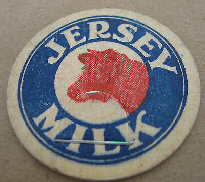 Antique JERSEY MILK BOTTLE CAP  Stapled pull  Cow on Front