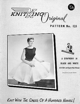 KNITKING 121 Vintage Knitting Machine PATTERN Full Skirt & Square Neck Top copy