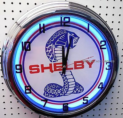 "17"" SHELBY Ford Mustang Sign Single Neon Clock"