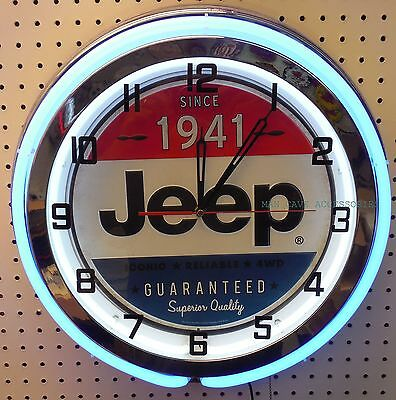 "18"" JEEP 4x4 Since 1941 Sign Double Neon Clock"