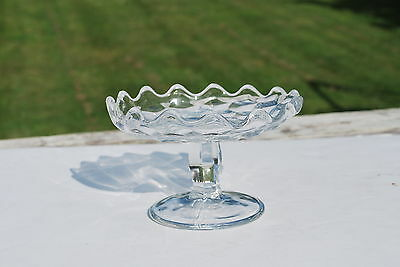 American Fostoria Footed Round Crystal Glass Stand - NICE!!