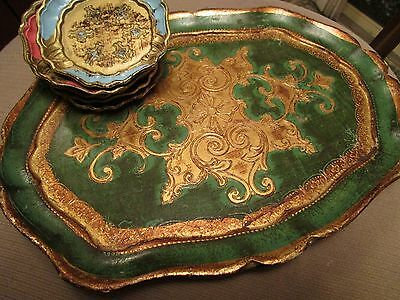 Vintage Hollywood Regency Shabby Chic Florentine Tray And 5 Coasters   Italy