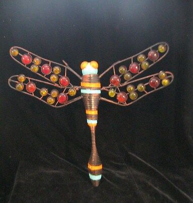 "Large Metal Folk Art Dragonfly With Glass Beads  14"" X 11-1/4"""