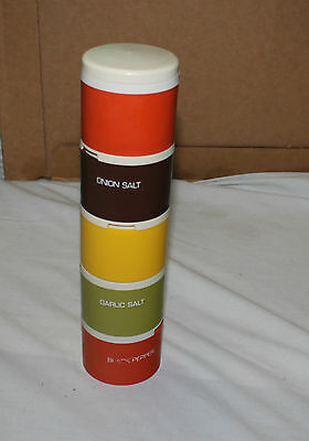 5 assorted Tupperware vintage stackable spice containers. Vintage