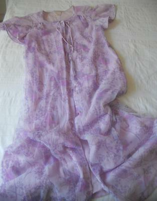 Vintage Target Negligee Brunch Gown Sheer Purple Birds Flowers On Solid Nylon 14