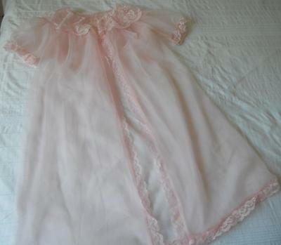 Vintage 1960's Pin Up Baby Doll Pink Sheer Nylon Negligee Lace Trim Ssw