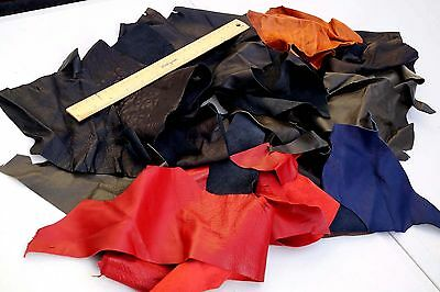 Assorted Garment Lambskin remnants Fine grain leather pieces/off-cuts 0.4 KG