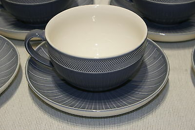 LOT of 2 Wedgwood WEEKDAY WEEKEND Blue Breakfast (large) Cup and Saucer SETS EXC