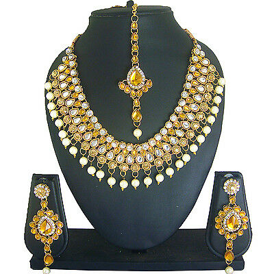 Z 2 Indian Bollywood Choker Style Bridal Gold Plated Ethnic Pearl Jewelry Set