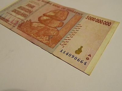 Zimbabwe 5 Billion Dollars Banknote AA 4090664