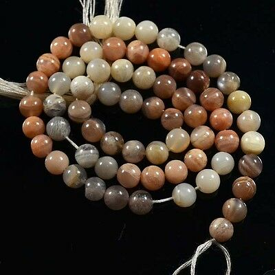 """78 Ct.aaa Marvelous Natural Gray Moonstone Round Loose Gemstone Beads 13"""" 21736"""
