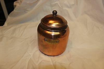 Vintage solid copper coffee jar with lid. Made in Korea.
