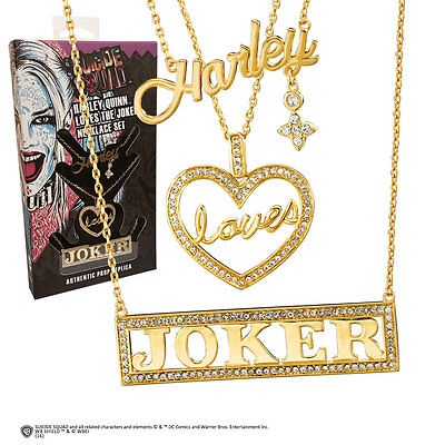 Suicide Squad Replica 1/1 Harley Loves Joker Necklace Set (gold-plated)
