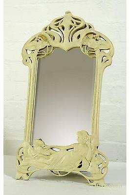 Art Nouveau Antique Style Cream Clay Paint Decorative Table or Wall Mirror