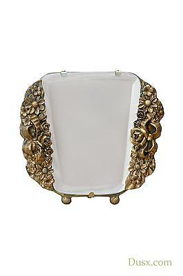 DUSX Barbola Floral Gold Gilt Leaf Table or Wall Bedroom Mirror 17 x 15cm