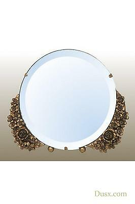 DUSX Barbola Floral Gold Gilt Leaf Round Table or Wall Bedroom Mirror 25 x 21cm