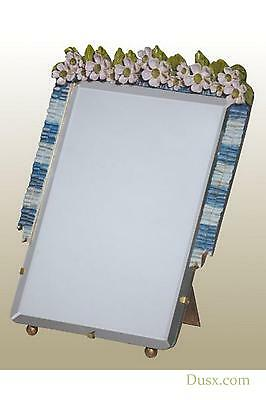 DUSX Barbola Floral Handpainted Bevelled Table or Wall Bedroom Mirror 24 x 33cm