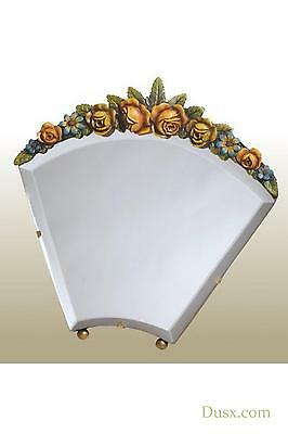 DUSX Barbola Floral Handpainted Bevelled Table or Wall Bedroom Mirror 26 x 25cm