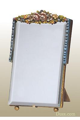 DUSX Barbola Floral Handpainted Bevelled Table or Wall Bedroom Mirror 15 x H23cm